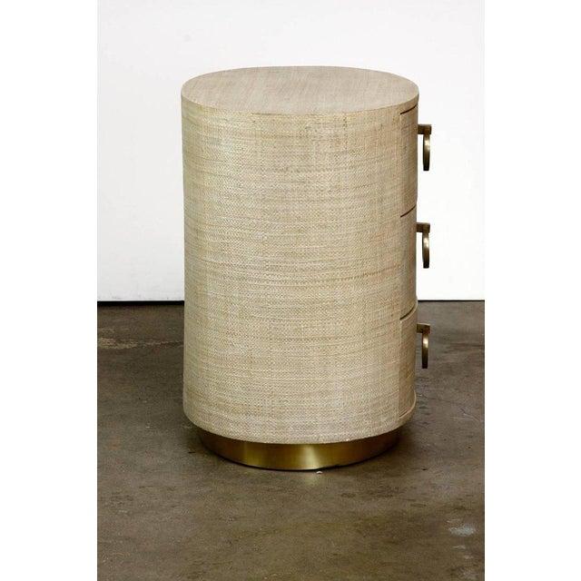 Raffia Grasscloth Clad Oval Three-Drawer Dresser Nightstand - Image 5 of 11