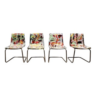 Carl Ojerstam Chairs Painted in Graffiti Tapestry Style by Artist Lionel Lamy For Sale