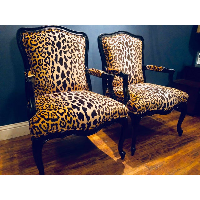 Hollywood Regency Black Lacquered Jamil Velvet Leopard Armchairs - A Pair For Sale - Image 3 of 14