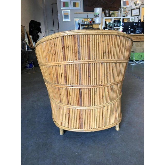 Yellow Rare Art Deco Shell Back Stick Rattan Lounge Chairs For Sale - Image 8 of 10