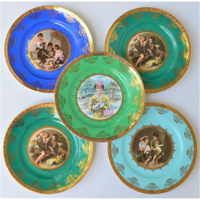 Antique Josef Kuba Jkw Bavaria Porcelain Plates - Set of 5 For Sale - Image 11 of 11