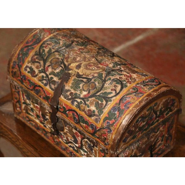 18th Century German Gothic Painted Decorative Bombe Box Wedding Trunk For Sale - Image 10 of 13