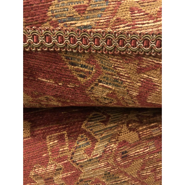 Red Sam Moore Upholstered Ottoman in Tapestry Fabric For Sale - Image 8 of 11