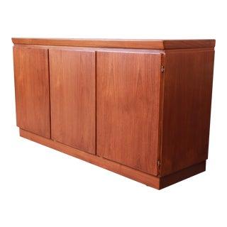 Skovby Danish Modern Teak Sideboard Credenza or Bar Cabinet, Newly Restored For Sale