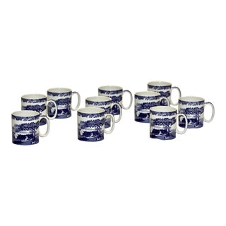 Blue Italian Mugs by Spode - Set of 10 For Sale
