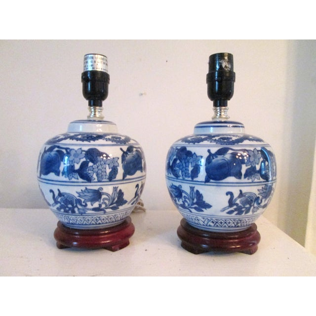 Mini Blue and White Table Lamps - Pair - Image 2 of 4