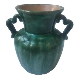 1924 Stangel Pottery Glazed Green Vase For Sale