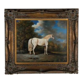 20th Century E. Maskey 'White Horse' Equestrian Oil Painting
