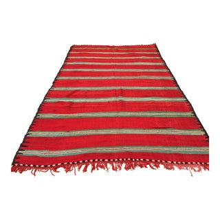 Moroccan Vintage Flat-Weave Rug For Sale