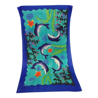 Silk Hand Painted Dolphin Art Throw
