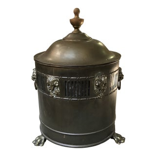 Antique Brass Ash or Coal Fireplace Bucket For Sale