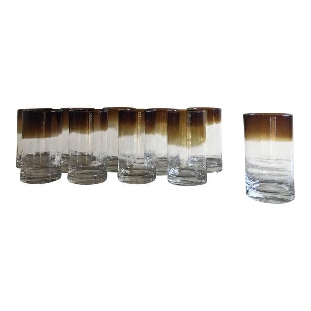 Hand Blown Ombré Glasses - Set of 10 For Sale