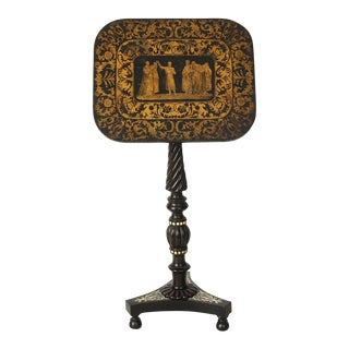 Regency Penwork Pedestal Base Table