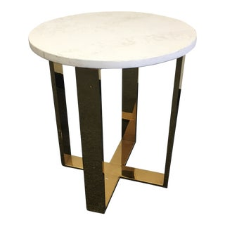 End Table Marble Top & Gold Shiny Base