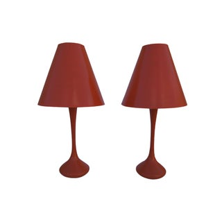 Laurel Orange Table Lamps - A Pair
