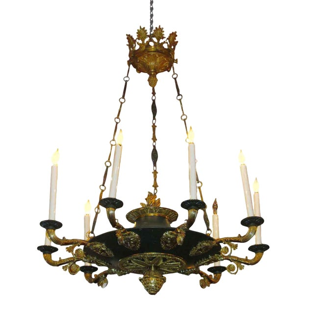 Two-Toned Empire 10 Light Bronze Chandelier For Sale