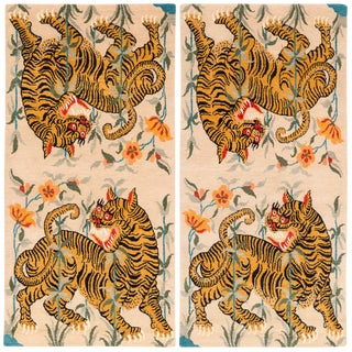 Vintage Tibetan Wool Tiger Area Rug by Carini, a Pair-3'x6'