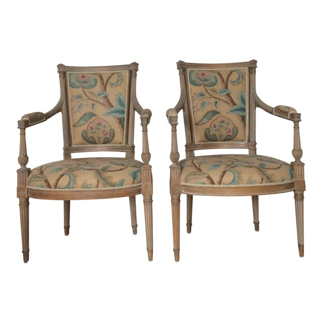 Modern Louis XVI Style Open Arm Chairs- a Pair For Sale