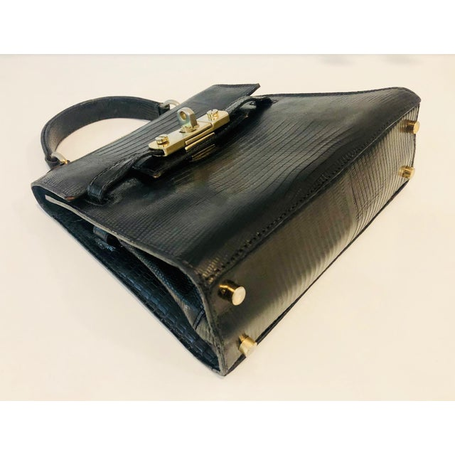 1980s Petite Lizard Skin Kelly Style Purse For Sale In New York - Image 6 of 12