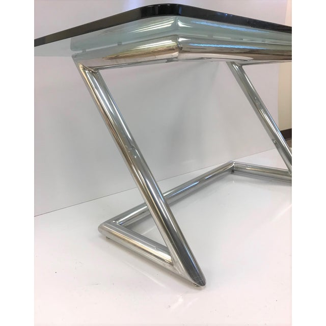 Mid-Century Modern John Mascheroni Polished Aluminum and Glass Desk For Sale - Image 3 of 6