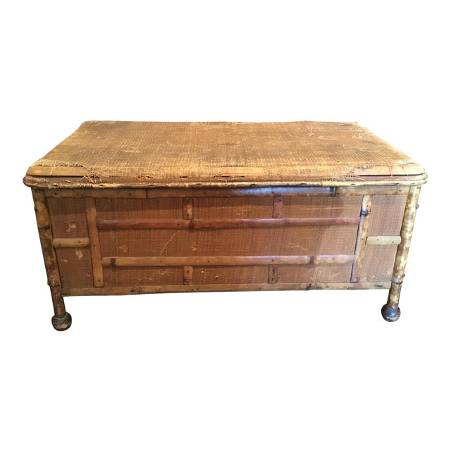 20th Century Asian Antique Scorched Bamboo Trunk For Sale