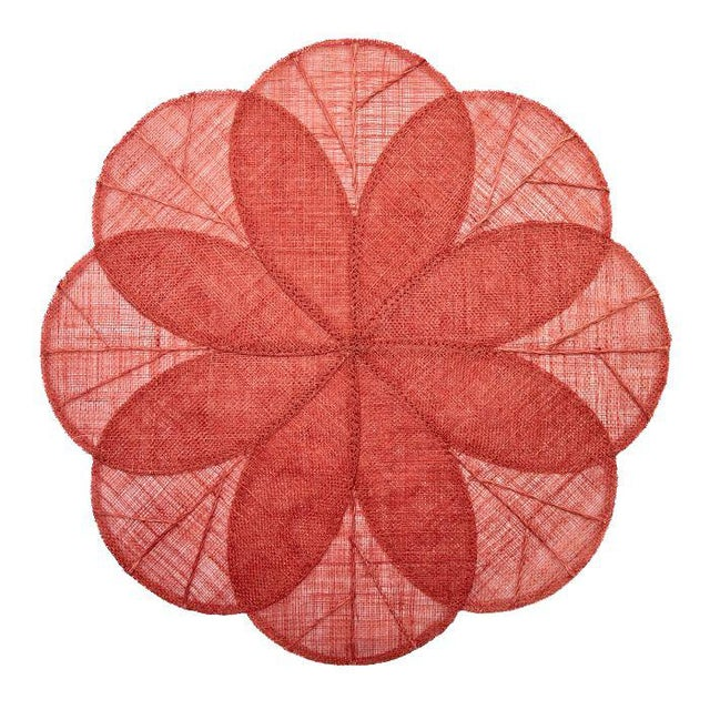 French Country Sinamay Flower Placemats, Coral, Set of 4 For Sale - Image 3 of 3