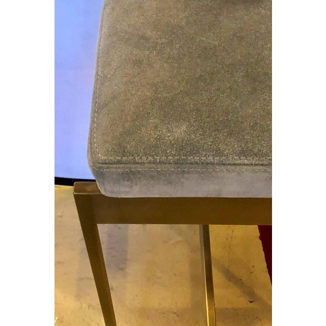 Set of Four Powell and Bonnell 'Alto' Suede Bar Stools For Sale - Image 10 of 14