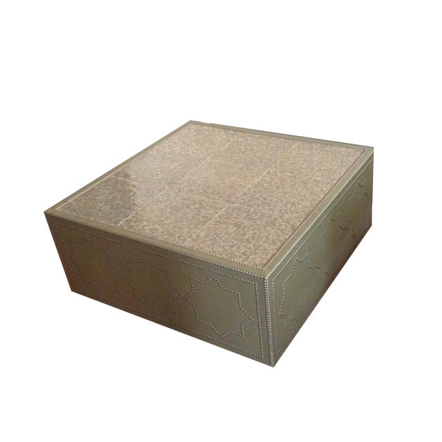 Frank Roop Designed Leather & Mother of Pearl Coffee Table - Image 1 of 6