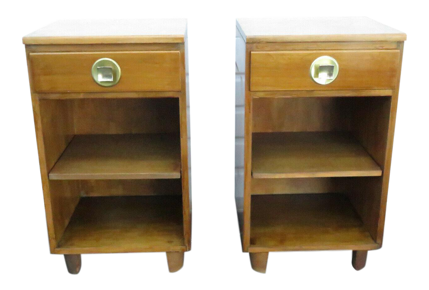 Mid Century Modern Pair Of Tall And Narrow Nightstands End Side Tables