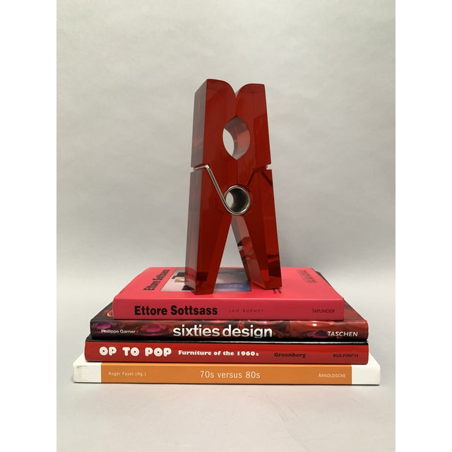 Pop Art Oversized Red Lucite Clothespin Paperweight or Paper Holder For Sale - Image 3 of 13