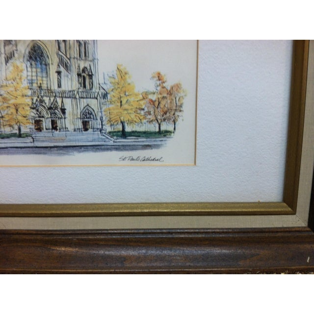 """American 1970s Vintage""""St. Paul's Cathedral"""" Framed & Matted Pittsburgh, Pa Print For Sale - Image 3 of 5"""