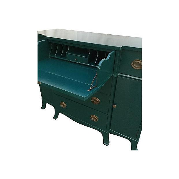 Teal Lacquered Secretary Desk - Image 4 of 7
