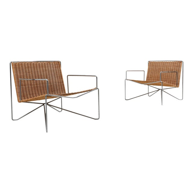 Rattan and Steel Armchairs Gelderland, 1964 - a Pair For Sale