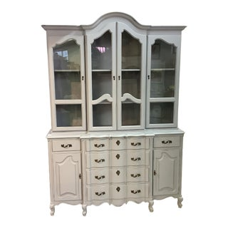 Painted Pale Gray Off White China Cabinet Large Bowed Front Tons Storage French For Sale