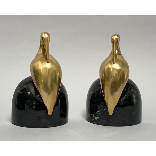 Art Deco Brass and Marble Egret or Crane Bookends – a Pair For Sale In New York - Image 6 of 13