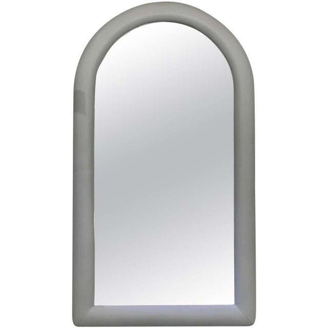Vintage Karl Springer Style Faux Snakeskin Upholstered Mirror For Sale - Image 11 of 11