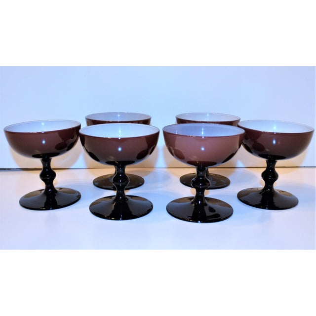 Glass 1960's Vintage Mid-Century Modern Carlo Moretti Cased Amethyst Champagne Coupes - Set of 6 For Sale - Image 7 of 10