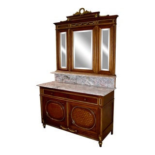 Antique French Marble Top Carved Cabinet For Sale