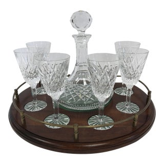 Waterford Crystal Decanter Glasses with Wood & Brass Gallery Tray For Sale