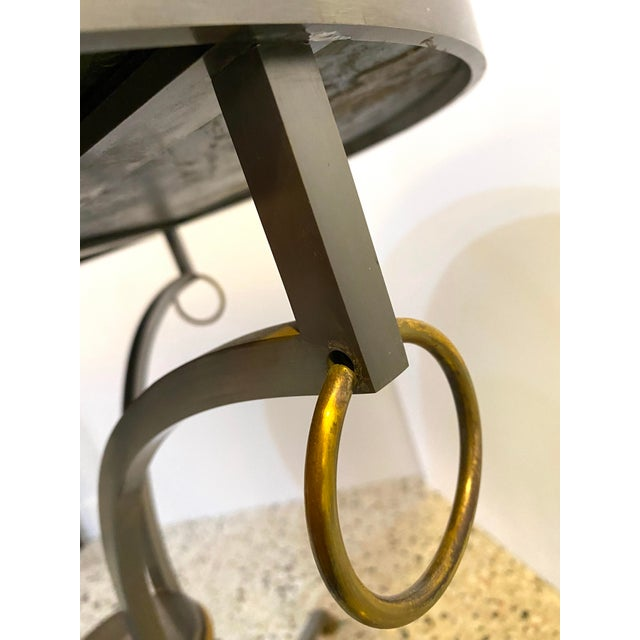 Metal Mid-Century Maison Jansen Attributed Louis XVI Style Gueridon Side Table in Steel, Brass and Verdigreen Marble For Sale - Image 7 of 13
