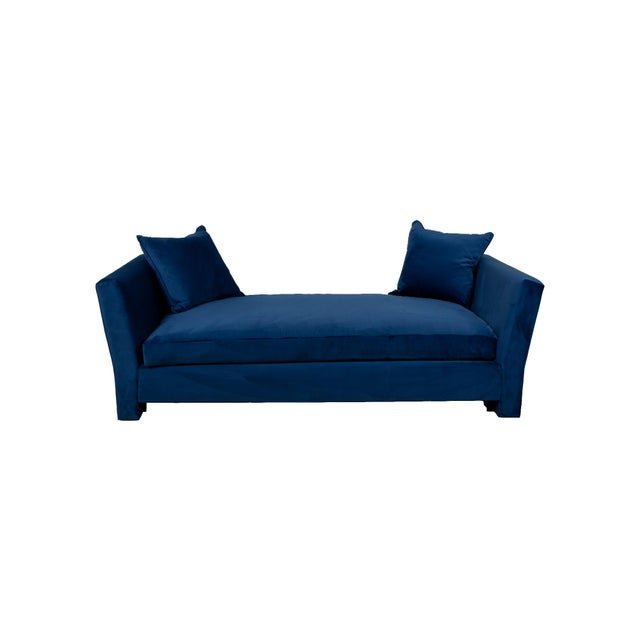 2010s Billy Baldwin Blue Velvet Upholstered Daybed For Sale - Image 5 of 5