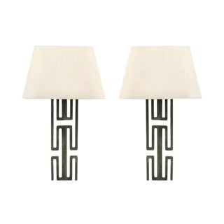 Pair of Geometric Metal Sconces With Shades For Sale