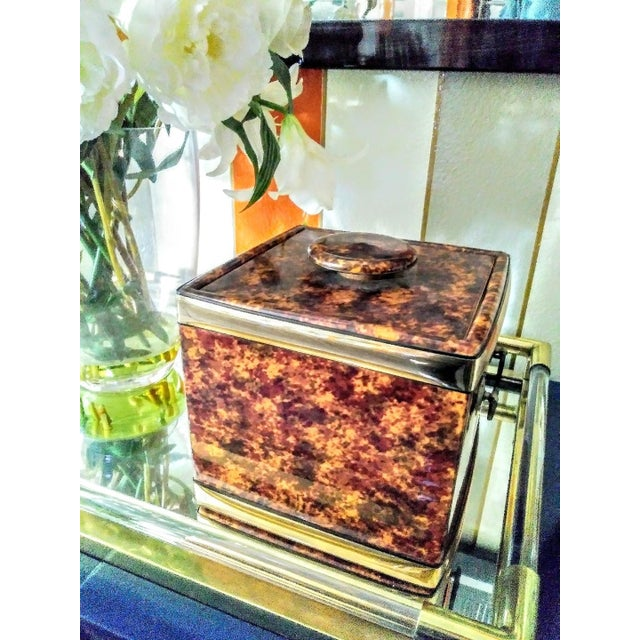 Kraftware Vintage Kraftware Faux Tortoiseshell Vinyl Square Ice Bucket For Sale - Image 4 of 7