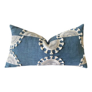 Embroidered Boho Blue Tasseled Pillow Cover For Sale