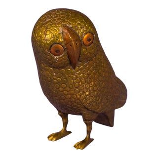 1960's Hammered Brass and Copper Owl For Sale