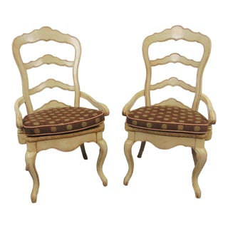 Country French Cream Distressed Ladderback Arm Chairs -A Pair For Sale