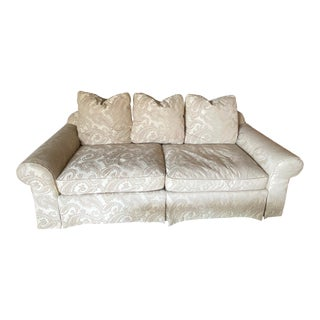 1990's Damask Upholstered Two Seat Sofa For Sale