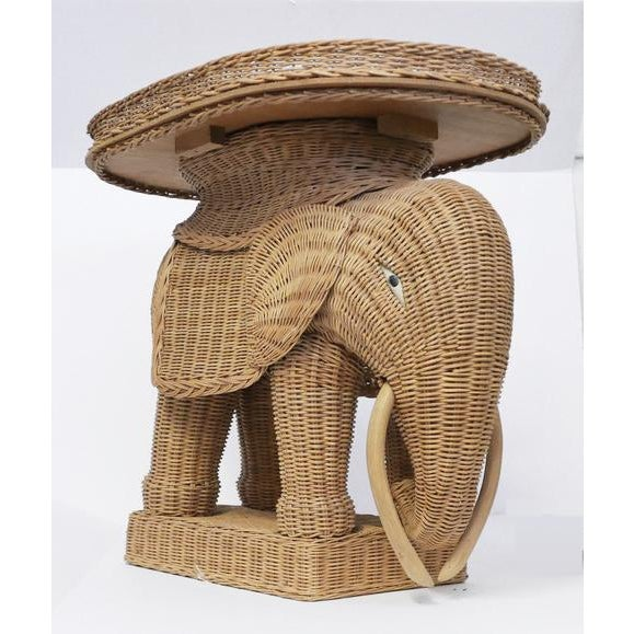 Brown 1970s Vintage Wicker Elephant Side Tray TableBoho For Sale - Image 8 of 8