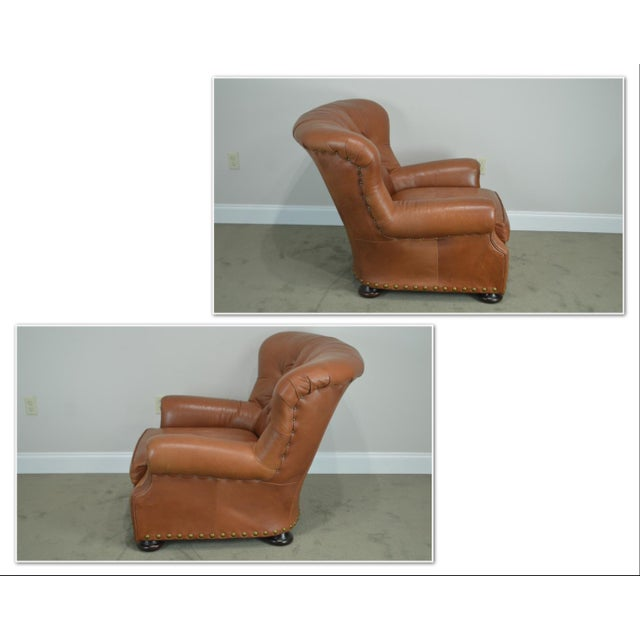 *STORE ITEM #: 19036 Brown Tufted Leather Writers Club Chair (A) AGE / ORIGIN: 1997, America DETAILS / DESCRIPTION: High...