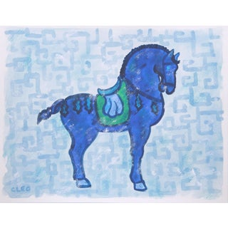 Chinese War Horse Painting by Cleo Plowden For Sale